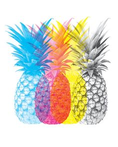 Pineapple Print Pineapple CMYK Pineapple by FlyingPalmStudio