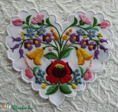 Hungary - Kalocsa - embroidered heart with Tambour Embroidery, Learn Embroidery, Embroidery Fashion, Cross Stitch Embroidery, Embroidery Patterns, Hand Embroidery, Machine Embroidery, Polish Embroidery, Polymer Clay Embroidery