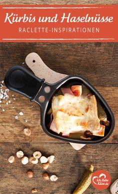 Raclette Pfännchen á la Herbst mit Kürbis und Haselnüssen.