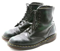 Dr Doc Martens mens shoes size 9 black green boots military made in ENGLAND UK 8 #DrMartens #Military