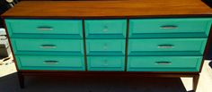 Mid-Century Modern Nine Drawer Two Tone Aqua by siennabellarose