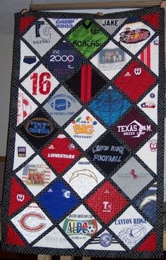 tshirt quilt idea - never seen one on the diagonal like this. Much better!.