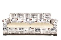 A great sofa in newspaper print upholstery. Team this with an interesting coffee table, some gold highlights and coloured bottles as accessories
