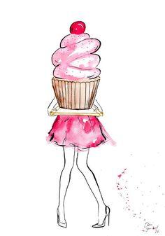 New Birthday Design Illustration Heart Ideas Watercolor Fashion, Watercolor And Ink, Watercolor Illustration, Cake Illustration, Digital Illustration, Cupcake Kunst, Cupcake Art, Birthday Wishes, Happy Birthday