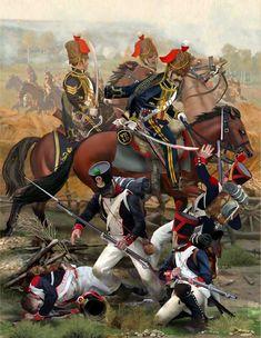 """il 16 rgt. inglese di dragoni a cavallo """"Queen"""" carica la fanteria francese"""