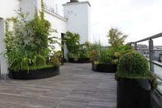 Various oversized containers Terrace Garden, Garden Planters, Indoor Garden, Porcelain Wood Tile, Wood Tiles, Roof Gardens, Outdoor Gardens, Garden Furniture, Green Facade