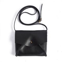 Black Leather Mini Crossbody Bag Purse