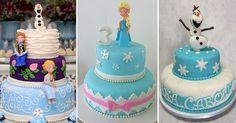 """O filme """"Frozen"""", da Disney, foi lançado em 2013, mas continua sendo um dos temas preferidos das festas infantis. Queridinhos entre as crianças, as princesas Elsa e Anna e o boneco de neve Olaf não só ganharam destaque nas mesas, mas também nos bolos decorados. Os modelos são os mais variados, como confeitado com pasta americana e """"naked cake"""" (bolo pelado, em inglês), entre outros…"""