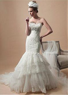 DELICATE TULLE SATIN MERMAID SWEETHEART NECKLINE WEDDING DRESS WITH BEADED LACE APPLIQUES FORMAL PROM