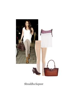 'Shraddha Kapoor' by me on Limeroad featuring Beige Jeggings, Brown Boots with White Tops
