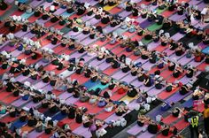 """Over people practiced yoga as a salute to the sun at the Annual """"Solstice in Times Square"""" on Saturday in New York City. Times Square, New York Times, Yoga Nyc, Yoga Information, Beautiful Yoga Poses, International Yoga Day, Star Wars, Meditation Practices, Free Yoga"""