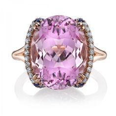 Omi Privé Kunzite and Sapphire Ring set in 18K rose gold. Style # RC1451-KUOV