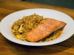 Fried Rice with Simple Baked Salmon recipe from Rachael vs. Guy: Kids Cook-Off via Food Network Baked Salmon Recipes, Rice Recipes, Seafood Recipes, Cooking Recipes, Healthy Recipes, Dinner Recipes, Seafood Dishes, Eat Healthy, Dinner Ideas