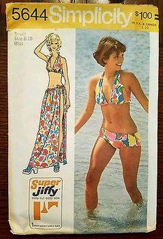 Simplicity 5644 1970s Womens Vintage Bathing Suit Sewing Pattern Halter Top Boy Shorts Bikini SOLD