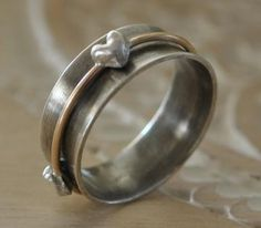 Three Heart Spinner Ring - Sterling Silver by BelleBohemeJewelry for $92.00