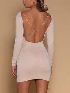 New Stylish Sexy Long Sleeve Plain Cross Back Backless Mini Bodycon Dress Long Sleeve Club Dresses, Long Sleeve Backless Dress, Lace Up Bodycon Dress, Long Sleeve Mini Dress, Dress Long, Clubwear, Women's Fashion Dresses, Sexy Dresses, Short Tight Dresses