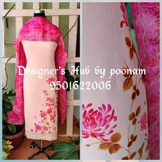 hand paint crape suit avileble in boutique watsapp on given no. for any details Fabric Paint Shirt, Fabric Painting On Clothes, Painted Clothes, Hand Painted Dress, Hand Painted Fabric, Embroidery Suits Design, Embroidery Fashion, Pink Kurti, Fabric Paint Designs