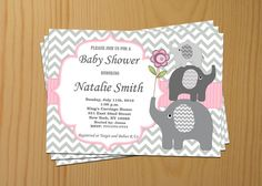 Baby Shower Invitation Girl Baby Shower Invitation Invite Elephant Baby Shower Invitation (50a) - Free Thank You Card - Instant Download on Etsy, $10.00