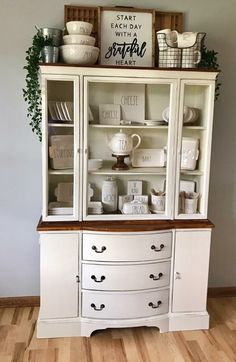 Awesome farmhouse style antique kitchen Kitchen in 2019 China antique kitchen decor - Kitchen Decoration China Cabinet Decor, Farmhouse China Cabinet, Painted China Cabinets, Refinished China Cabinet, Antique Kitchen Decor, White Kitchen Decor, Rustic Kitchen, Country Kitchen, Antique Interior