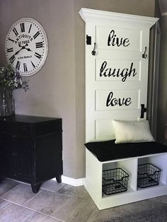 Reclaimed Vintage Door Hall Tree and Bench White and Black