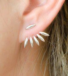 Silver Drops Ear Jackets, Sterling Silver, Spiky Earjackets, Leaves Jacket Earrings, Silver Stud Earrings, Modern Edgy Jewelry, Gift, EJ003
