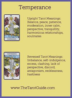 Tarot Flashcards - Temperance Upright and Reversed Meanings…