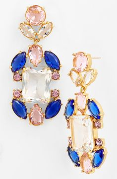 These sparkly pink and blue chandelier earrings are so pretty.