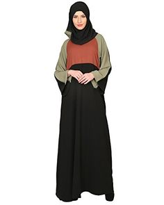 Modest Forever Color Block Designer AbayaP257S_Black_S -- Click for Special Deals #IslamicWomenClothings