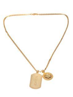 Shop Versace Medusa logo tangle necklace.