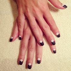 It's mani Monday and we are loving these half moon nails. Beautiful. #reddoorspa #harrahsresort #manimonday #essie Photo Credit: @gmjackierds #regram