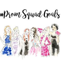 Tag your prom squad! (Illustration by Fashion Prints, Fashion Art, Gifts For An Artist, Whimsical Fashion, Squad Goals, Watercolor Print, Creative Gifts, Seventeen, Cool Girl