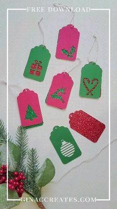Cricut Christmas Cards, Diy Christmas Tags, Holiday Gift Tags, Christmas Crafts For Gifts, Cricut Projects Christmas, Xmas, Christmas Gift Inspiration, Handmade Gift Tags, Party