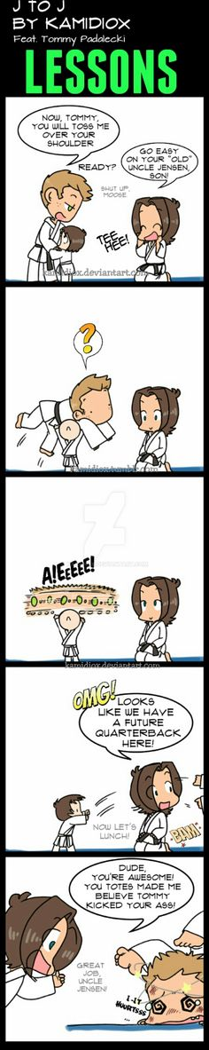 J To J: Lessons by KamiDiox So we all know Jared is a really strong man. Many people on the staff had left that very clear. But what if Tommy inherited his father's strenght? Or even a bit. Supernatural Cartoon, Supernatural Drawings, Supernatural Fan Art, Carry On Book, Super Natural, Crazy People, Superwholock, Illustrations, Fandoms