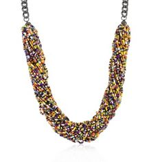 Hematite Bonded to a Lead Free Alloy Base Metal 20 Inch Multi-color Acrylic Bead Twisting Necklace in Black Tone. An assortment of fun, colorful beads twist to I Love Jewelry, Jewelry Shop, Fashion Jewelry, Jewellery, Family Jewels, Necklace Online, Acrylic Beads, Beautiful Necklaces, Beaded Necklace