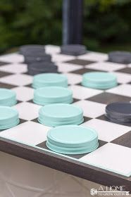 DIY oversized checker board yard game