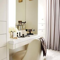 Built In Dressing Table, Contemporary, Closet, Kimberley Seldon Design Group