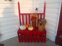 Front porch, bench and delightful birdhouse from my friend.