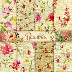 Floral Digital Paper Digital Paper Floral Background by rosaliks Women's Retreat, Printable Paper, Patch, Scrapbook Paper, Flower Art, Collages, Digital Scrapbooking, Planners, Decoupage