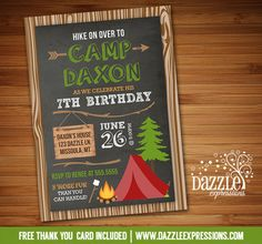Printable Rustic Chalkboard Camping Birthday Invitation | Backyard Sleepover | Outdoors Party | Digital File | Boys Birthday Party Idea | FREE thank you card | Party Package Available | Banner | Cupcake Toppers | Favor Tag | Food and Drink Labels | Signs | Candy Bar Wrapper | www.dazzleexpressions.com