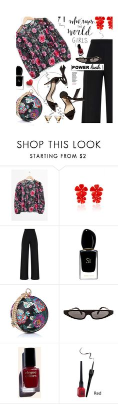 """""""GIRL POWER: Power Look"""" by hamaly ❤ liked on Polyvore featuring Jennifer Behr, Giorgio Armani, Dolce&Gabbana, Cirque Colors, outfit, ootd, girlpower and powerlook"""