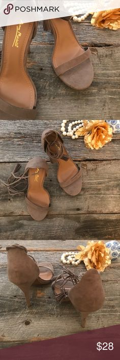 || LoveCulture || Taupe Suedette TasselStrap Heels Beautiful Taupe Suedette Lace Up Strap Heels with tassel ties.  4.5 inch heel. NWOT - stickers on sole - Never Worn. Love Culture Shoes Heels