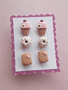 Food jewelry set of 6 earrings created from polymer clay without molds or forms, with sweets: 2 cupcakes, 2 donuts and 2 cream biscuits. A cute gift idea for a birthday or for best friends. The lenght of each earring is 1.2 cm. ❀ Price is for one set of 6 earrings (3 pairs), as in pictures.