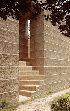 Prob not rammed earth, but a nice effect to emulate Brick Architecture, Contemporary Architecture, Architecture Details, Landscape Architecture, Interior Architecture, Organic Architecture, Residential Architecture, Rammed Earth Homes, Rammed Earth Wall