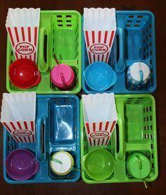 Movie Night Popcorn Trays before