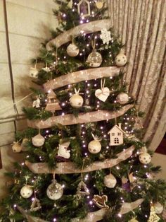 Retro Christmas tree vintage wooden handmade  decorations