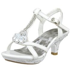 Girl's T-Strap Seashell Rhinestone Ankle Strap Open Toe Evening High Heel White Size 9-4 little girl cute pageant footwear special occasion party shoes