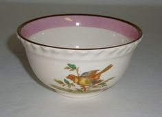 Vintage Grays Pottery Bowl Stoke-On-Trent England Bird in Branch Ivory Pink Gold
