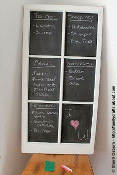 Chalkboard made from an old window