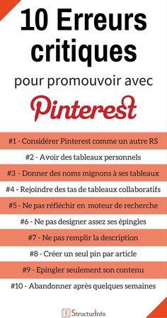 erreurs marketing Pinterest à éviter - faire connaitre son site - Conseils Pinterest (1) Content Marketing, Digital Marketing, Web Seo, Marketing Opportunities, Le Web, Community Manager, Management Tips, Pinterest Marketing, Social Media Tips