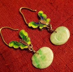 Antique vintage Chinese export cloisonne butterfly , apple green jade earrings  in Jewelry & Watches, Vintage & Antique Jewelry, Vintage Ethnic/Regional/Tribal, Asian & East Indian | eBay